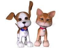 Cão e gato dos desenhos animados Fotografia de Stock Royalty Free