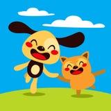 Cão e gato feliz Fotos de Stock