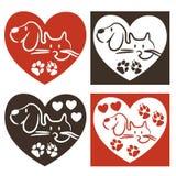 Cão e gato - logotipo do amor ilustração royalty free