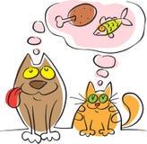 Cão e gato sonhado sobre comer ilustração royalty free