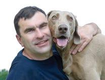 Cão e homem Fotografia de Stock Royalty Free