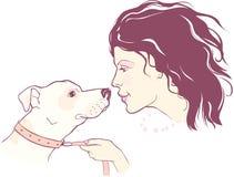 Cão e menina Fotografia de Stock Royalty Free