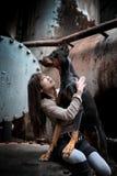 Cão e menina Fotografia de Stock