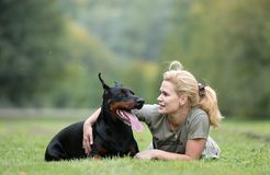 Cão e menina imagem de stock