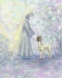 Cão e menina. Foto de Stock
