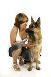Cão e mulheres de pastor Imagens de Stock