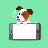 Cão e smartphone do terrier de russell do jaque dos desenhos animados ilustração stock