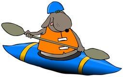 Cão em um caiaque azul ilustração royalty free