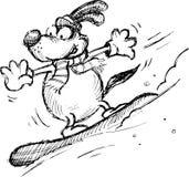 Cão em um snowboard Foto de Stock Royalty Free
