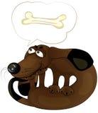 Cão engraçado dos desenhos animados com um osso Fotos de Stock Royalty Free