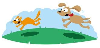 Cão engraçado que caça um gato ilustração royalty free