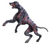 Cão estrangeiro assustador fora do inferno. rendição 3D com Fotografia de Stock Royalty Free