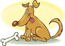 Cão feliz com osso Fotografia de Stock