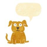 cão feliz dos desenhos animados com bolha do discurso Imagens de Stock Royalty Free