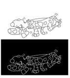 Cão louco envenenado, o cão inoperante, louco falsificado, humorista Imagens de Stock