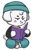 Cão mal-humorado que lê um livro Ilustração Royalty Free