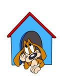 Cão na casa de cachorro Imagens de Stock Royalty Free
