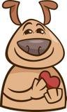 Cão na ilustração dos desenhos animados do amor Fotografia de Stock