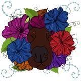 Cão nas flores Fotos de Stock