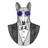 CÃO para a ilustração tirada do moderno do projeto do t-shirt mão animal para a tatuagem, emblema, crachá, logotipo, remendo, t-s Imagens de Stock Royalty Free