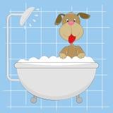 Cão pequeno bonito que toma um banho ilustração royalty free