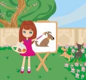 Cão pequeno da pintura da menina do artista na lona do grande papel Fotografia de Stock Royalty Free