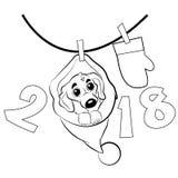 Cão pequeno no assento do chapéu de Santa Claus Imagens de Stock Royalty Free