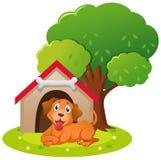 Cão pequeno que senta-se na casa de cachorro ilustração stock