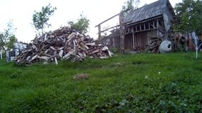 Cão preto que corre na jarda da casa Ucrânia, Podillya Khmelnytskyi filme