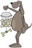 Cão que guarda um carrilhão de vento do osso foto de stock royalty free