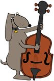 Cão que joga o baixo ilustração royalty free