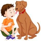 Cão que lambe o menino na cara ilustração stock