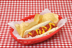 Cão quente com ketchup e mostarda na cesta Imagens de Stock