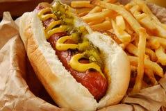Cão quente e fritadas Foto de Stock Royalty Free
