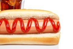 Cão quente e soda imagem de stock royalty free