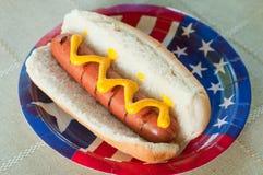 Cão quente patriótico fotografia de stock royalty free