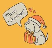 Cão tirado mão que mantém um presente e um desejo Feliz Natal Ilustração Stock
