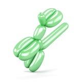Cão verde do balão isolado no fundo branco 3d rendem os cilindros de image Fotos de Stock