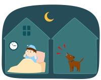 Cão vizinho do ` s que descasca alto em desenhos animados do vetor da noite fotos de stock