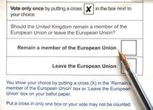 Cédula BRITÂNICA do referendo da UE fotografia de stock