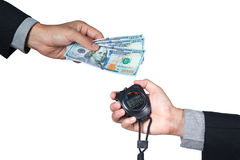 cédula de 100 dólares disponível do homem de negócios e do cronômetro disponível Imagens de Stock