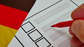 Cédula de papel de votação em Alemanha video estoque