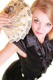 Cédula do dinheiro da moeda do polimento da terra arrendada da mulher de negócio Imagens de Stock