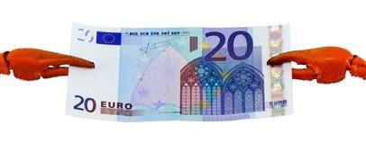 Cédula do dinheiro do dinheiro do dólar dos usd EUA da garra do cancro Foto de Stock