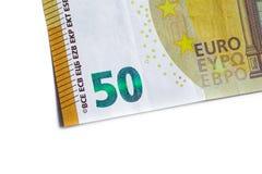 Cédula do euro cinqüênta, dinheiro da moeda do Euro isolado no backgr branco Imagem de Stock