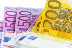 Cédula do Euro de 200 e de 500 Fotografia de Stock Royalty Free