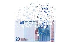 cédula do euro 20 que dissolve-se como um conceito do crysis econômico imagens de stock royalty free