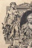 Cédula do império de russo 100 rublos de fragmento. 1910 Imagens de Stock