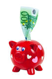 Cédula do mealheiro e do euro 100 Fotografia de Stock Royalty Free