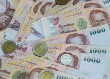 Cédula e moeda do baht tailandês de Tailândia Fotos de Stock Royalty Free